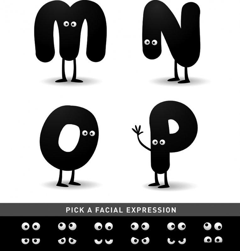 【eps】非常可爱卡通英文字母mnop