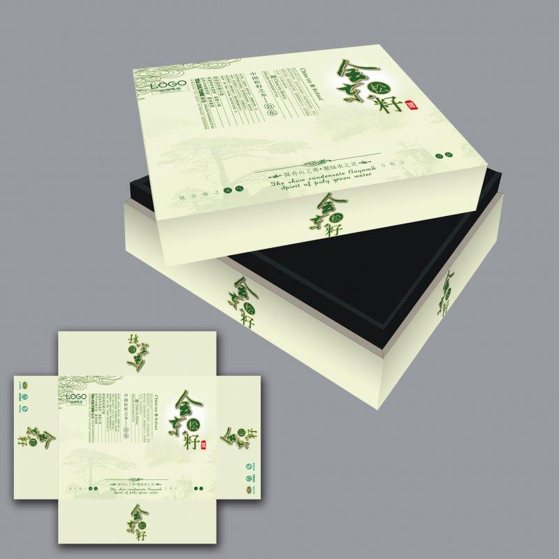 松籽礼盒包装设计矢量