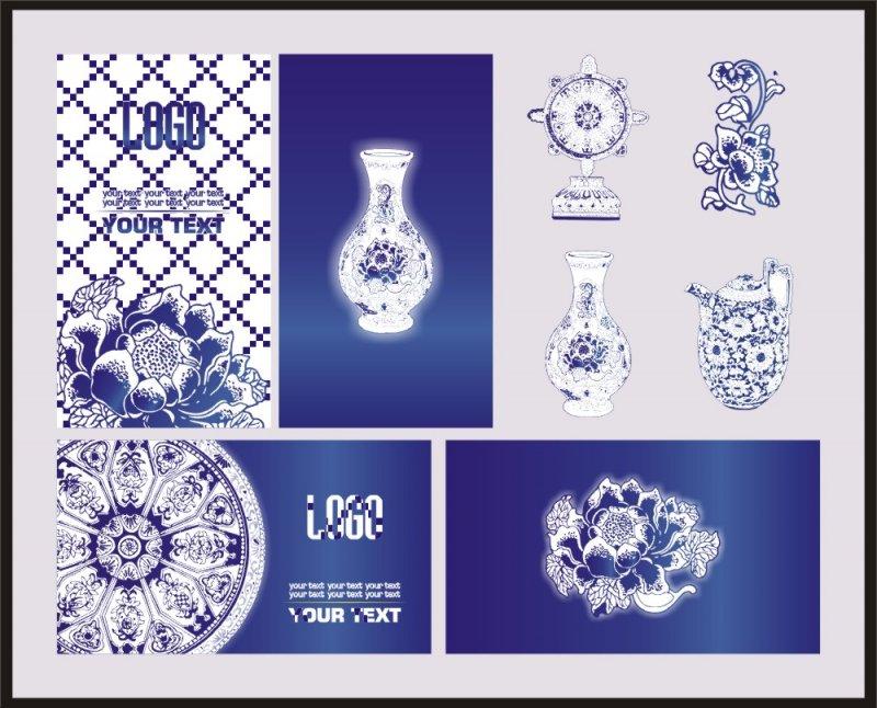 陶瓷 陶瓷名片 圆形花纹 商业名片 个人名片 古典文化文化名片 中国