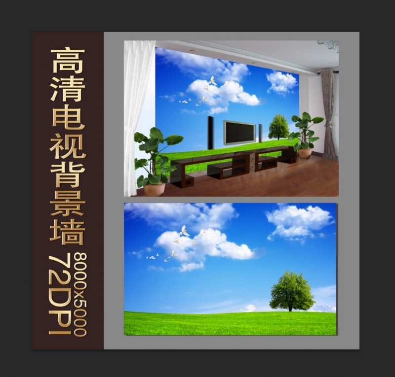 【psd】高清风景电视背景墙