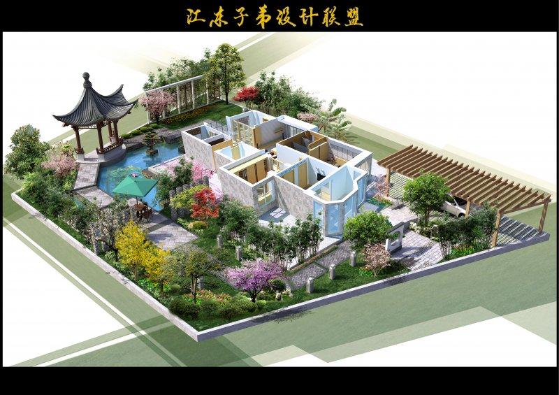 【psd】景观园林 别墅设计 景观设计 庭院花园 别墅花园