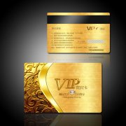 黄金质感高档vip贵宾卡设计模板