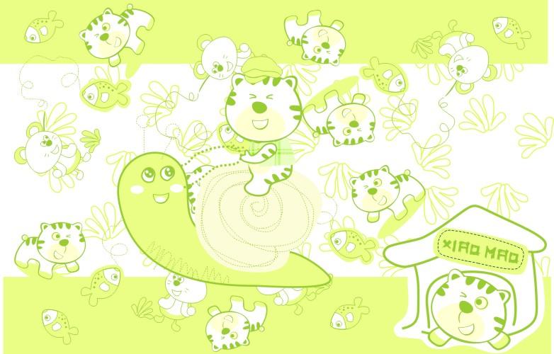 色彩儿童简笔画小猫
