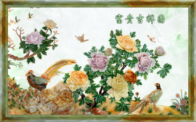 雕画 雕塑 客厅背景墙 绘画书法 文化艺术 设计 说明:-花开富贵玉石