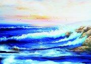 海浪水彩畫