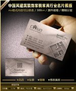 中国风建筑装饰家装家具行业名片模板