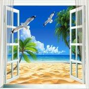3D窗海景背景墙