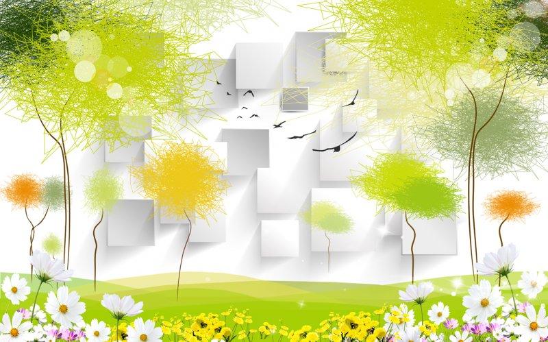 【psd】3d抽象树背景墙