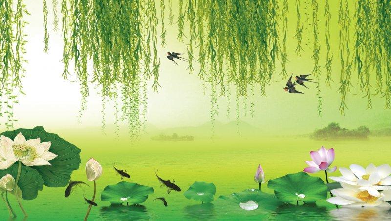荷塘景色背景墙 上一张图片:   山水情玄关 下一张图片:3d窗竹林风景