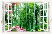 3D窗竹林风景画