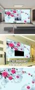 玫瑰3D立体电视背景墙