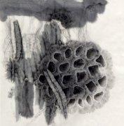 水墨 抽象 蓮藕