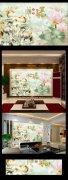 客厅壁画3D立体玉雕荷花玉雕背景墙家和图