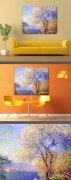 莫奈油画作品《从萨利花园里看昂蒂布》