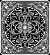 欧式洋花门花浮雕灰度图