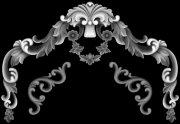 歐式洋花門花浮雕灰度圖