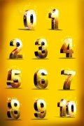 黄金立体金属数字