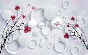 3D唯美红花背景墙
