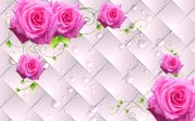 3D唯美玫瑰背景墙
