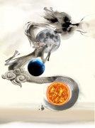 中國風水墨大氣中秋節宣傳海報矢量模板