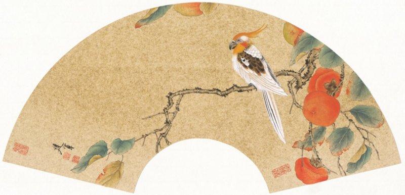 扇面金丝小鸟工笔画