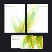 绿色花纹信纸信封设计