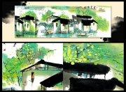 江南春长卷水墨画