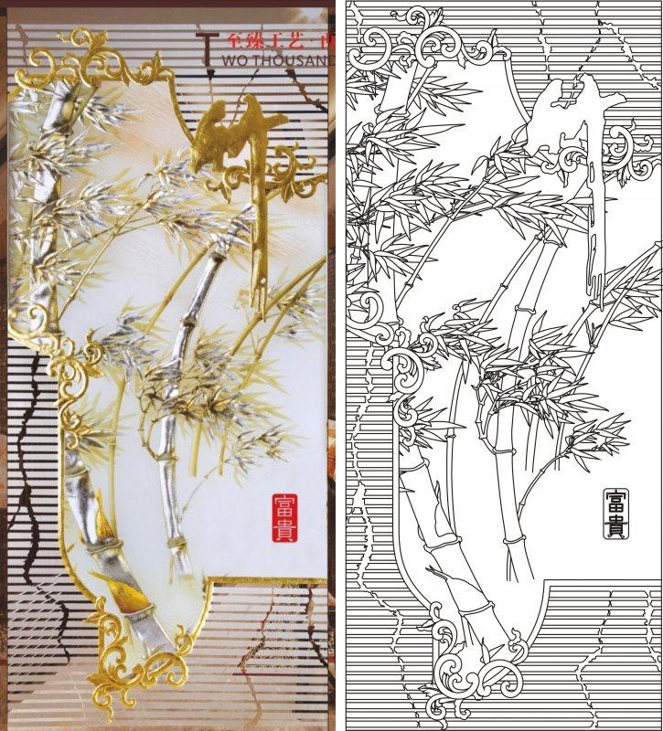 报平安 富贵竹 竹子 竹 富贵 艺术玻璃 艺术玻璃图 艺术玻璃图案 雕刻