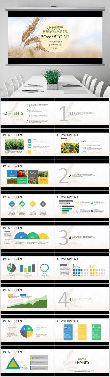 五谷杂粮小麦土特产农产品食品PPT模板