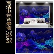抽象金线山水墙画