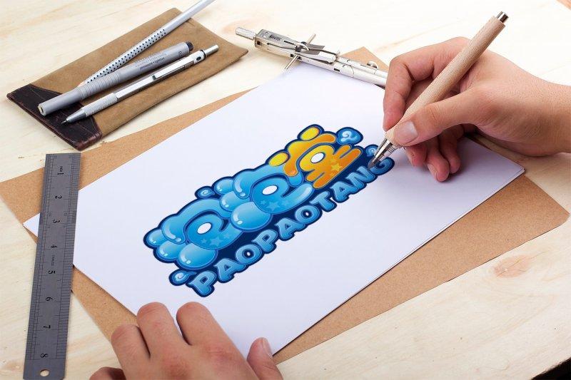 原创泡泡堂卡通logo设计