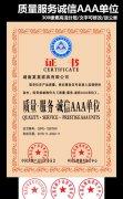 质量服务诚信AAA单位证书