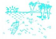 河边捉鱼-简笔画