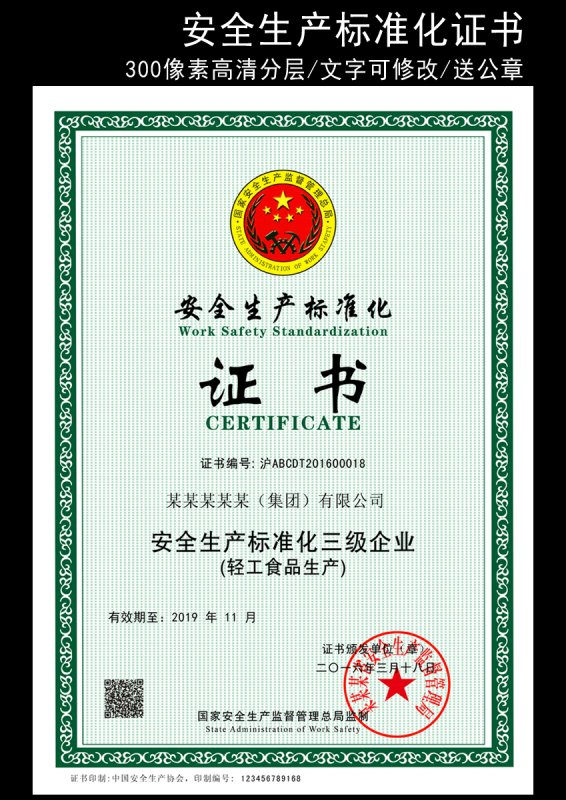 安全生产标准证书模版