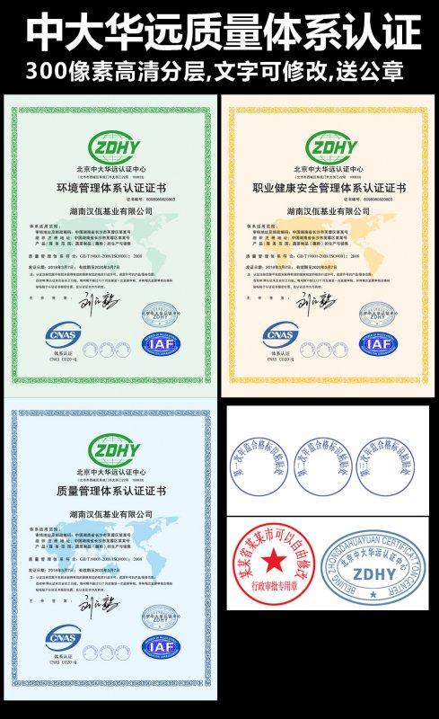 北京中大华远质量管理体系认证模版