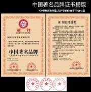 中国著名品牌证书模板