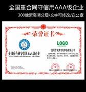 全国重合同守信用AAA级企业证书