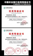 中国农业银行信用等级证书模版