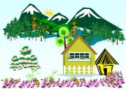 高山绿树小屋 风景画