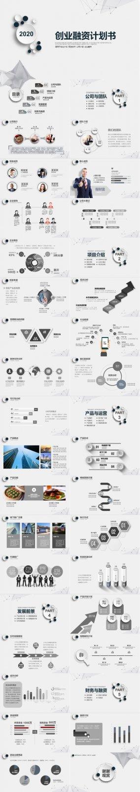 大气灰色创业融资计划书商业计划书企业宣传PPT模版